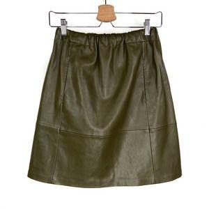 Zara Vegan Leather Elastic Waist Mini Skirt Green